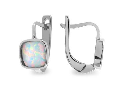 Silver earrings with rainbow stone