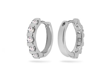 Silver hoop earrings with zircon