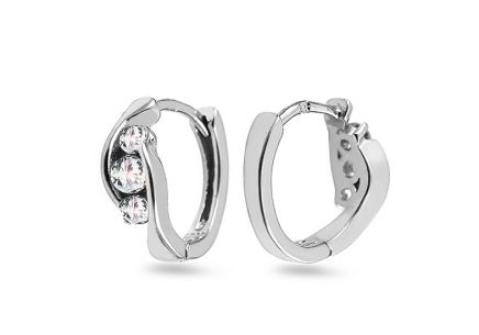 Silver hoop earrings with zircons