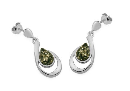 Silver hanging Drops earrings with green amber