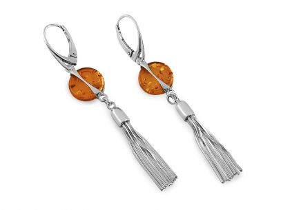 Amber button tassel silver earrings