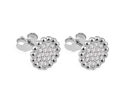 Silver Flowers stud earrings with zircons