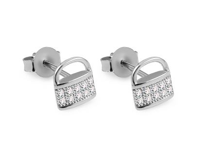 Silver lock stud earrings with zircons