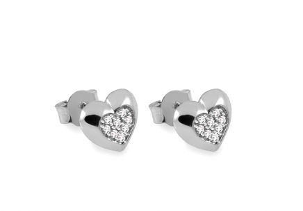 White gold heart stud earrings with zirconia