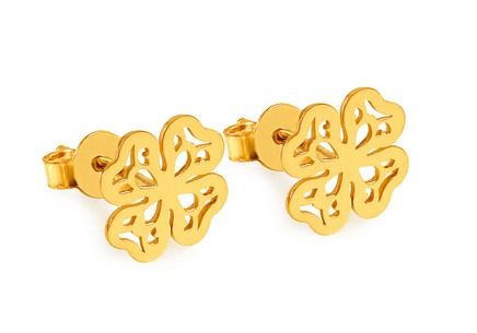 Gold-plated silver four-leaf clover stud earrings
