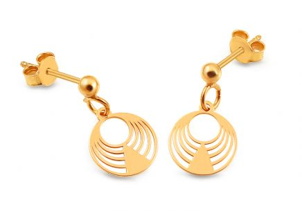 Gold plated 925silver earrings wheels design