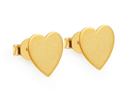 Gold plated silver heart stud earrings
