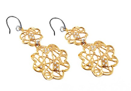 Gold plated Sterling Silver flowers earrings