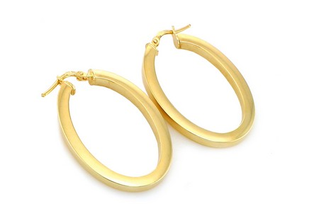 Gold Plated Sterling Silver Hoop Earrings Eclipse