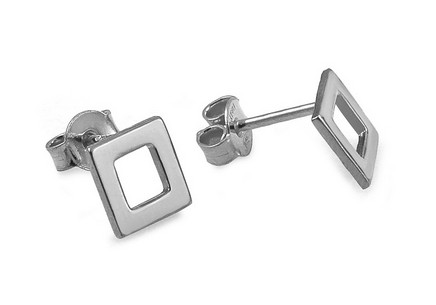 Rhodium plated Sterling Silver earrings squares