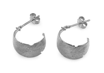 Rhodium plated 925 sterling silver earrings feathers