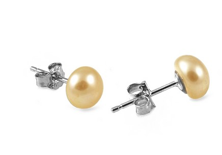 Golden pearls women's Earrings on 925Sterling Silver Rhodium plated