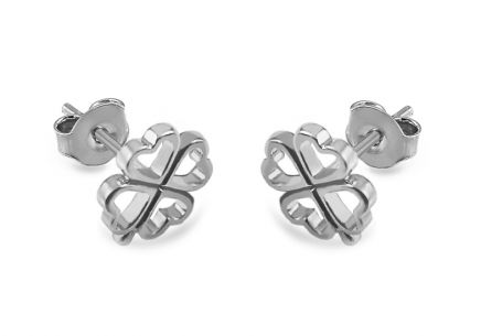 Rhodium plate 925Sterling Silver Ladies Earring with flower design