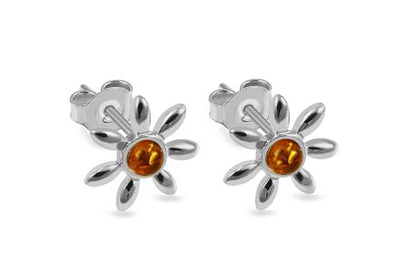 Silver stud earrings with amber Flowers