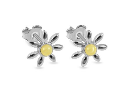 Silver Flowers stud earrings with yellow amber