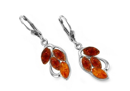 Silver plated earrings with amber