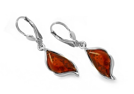 Silver hanging drop earings with amber