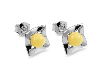 Silver Stud Earrings with Yellow Amber