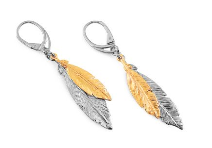 Sterling Silver Earrings  feathers with gold plating