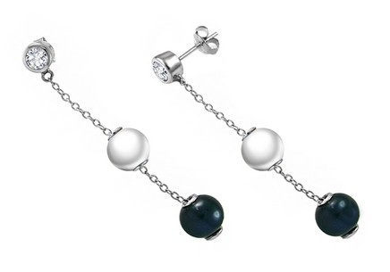 Sterling Silver Earrings with two colour pearls