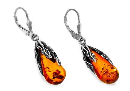 Sterling Silver Women's Dangling Earrings with Amber