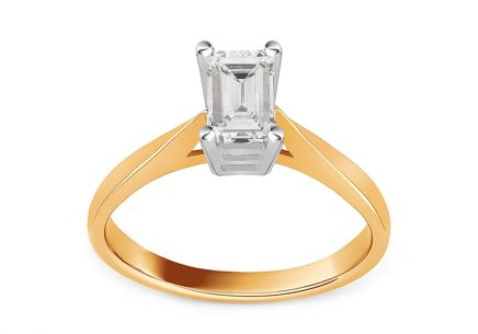 Combined Gold Engagement Ring with Zircon