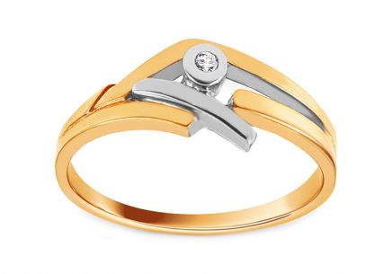 Combined Gold Engagement Ring with Zircon Adelais