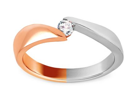 Combined Gold Engagement Ring with Zircon Amia