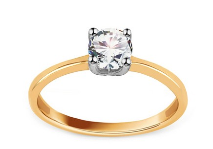 Combined Gold Engagement Ring with Zircon Madalyn