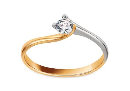 Combined Gold Engagement Ring with Zircon Talita