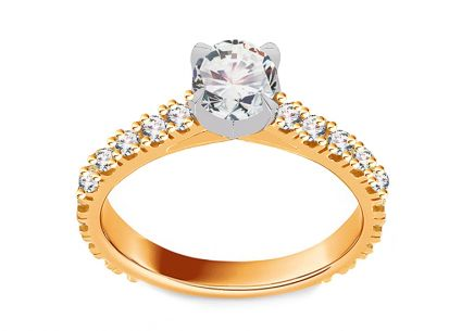 Two-tone gold engagement ring with zircons