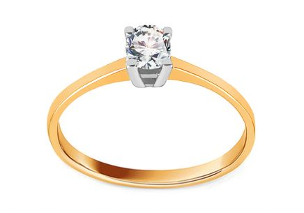 Gold Combined Engagement Ring with Zircon