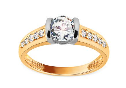 Gold Combined Engagement Ring with Zircons