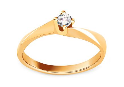 Gold Engagement Ring Princess 15 with Zircon