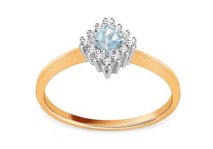 Gold Engagement Ring with Blue Zircon