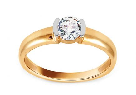 Gold Engagement Ring with Zircon Frieda
