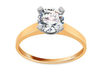 Gold Engagement Ring with Zircon Sabine