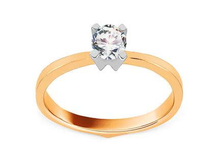 Gold Engagement Ring with Zircons Allyriane