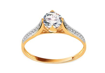 Gold Engagement Ring with Zircons Jelena