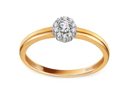 Gold Engagement Ring with Zircons Leda