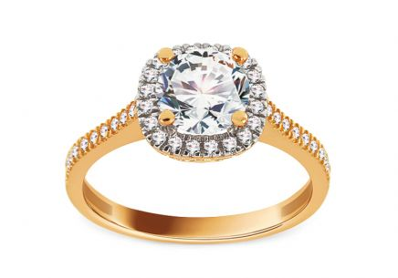Gold Engagement Ring with Zircons Lizzie