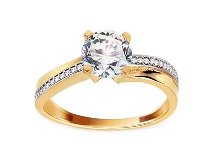Gold Engagement Ring with Zircons Zuri