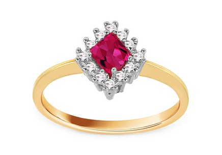 Gold Ring with Pink Zircon