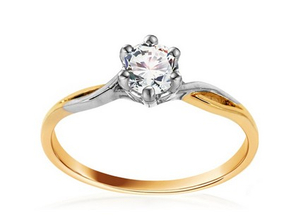Golden Engagement Ring  Diane 2 with Cubic Zirconia
