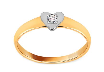 "Golden Two-Tone Engagement Ring with Zircon ""Heart"""