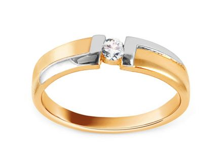 Two Tone Gold Engagement Ring with Zircon Alba