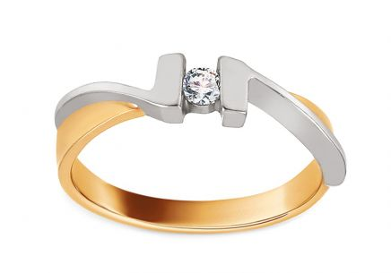 Two Tone Gold Engagement Ring with Zircon Liseran