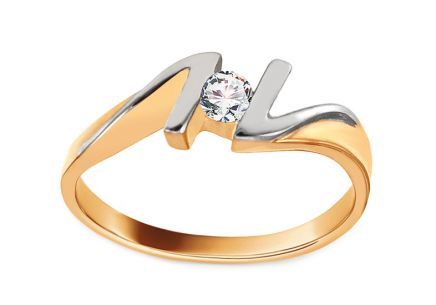 Two Tone Gold Engagement Ring with Zircon Pretty 9
