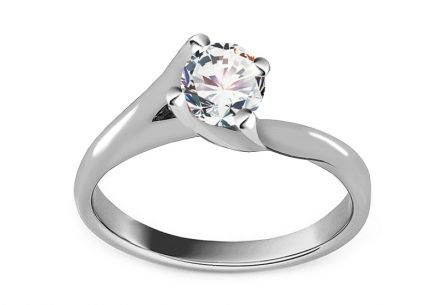 Elegant White Gold Engagement Ring with Zircon