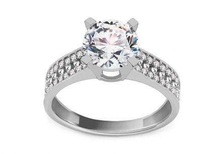 Gold Engagement Ring with Zircons Reece white